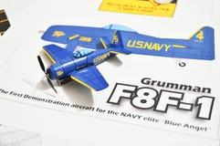 The Replica of F-8F-1 Grumman Blue Angel`s stock image