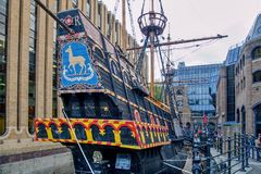 The Golden Hind Galleon Ship in London. The replica of the famous Golden Hind Galleon Ship which is currently moored in London royalty free stock photos