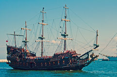 Replica of A Galeon. Replica of an ancient galeon sailing with tourists outside Gdynia harbour, Poland Stock Photography