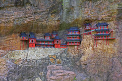 Replica of hanging monastery of mt. hengshan, china Stock Photo