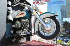 Replica of a Harley Davidson. Motorcycle coming out of the wall at the Harley Davidson restaurant in Las Vegas Royalty Free Stock Photo