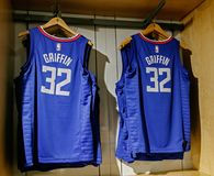 Replica jersey of Blake Griffin of Los Angeles Clippers. New York, October 20, 2017: Replica jersey of Blake Griffin of Los Angeles Clippers on sale in the NBA Royalty Free Stock Images