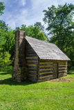 Replica Log Cabin – Explore Park, Roanoke, Virginia, USA. Roanoke County, VA – May 14th; 1755 replica of a log cabin located at Explore Park just stock photos