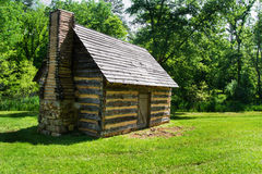 Replica Log Cabin – Explore Park, Roanoke, Virginia, USA. Roanoke County, VA – May 14th; 1755 replica of a log cabin located at Explore Park just stock photography