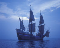 Replica of Mayflower Ship. 1620 Mayflower II replica Pilgrims Sail to New World stock photography