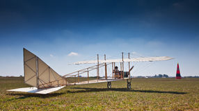 Replica of an old airplane. From 1910 taking off Stock Photo