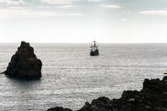 Replica of an old caravel on the shores of the island of Madeira.  Stock Photos