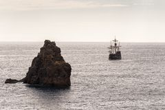 Replica of an old caravel on the shores of the island of Madeira.  Stock Image