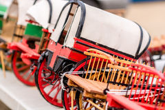 Replica of old red wagon. Replica of an old red wood wagon used to transport beer barrels Stock Photos