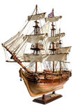 Replica of the old sailfish Bounty. HM Armed Vessel Bounty. Historic sailing ship as wooden model stock photography