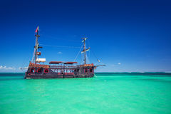 Replica of an old ship in the Caribbean sea near Punta Cana. A replica of an old pirate ship in the Caribbean sea near Punta Cana, Dominican Republic Stock Images