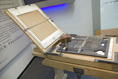 Replica of printing press. Used by John Dunlap to make broadside copies of the Declaration of Independence in 1776, on display at the Newseum, Washington D.C Royalty Free Stock Photography