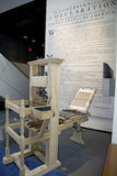 Replica of printing press. Used by John Dunlap to make broadside copies of the Declaration of Independence in 1776, on display at the Newseum, Washington D.C Stock Photos