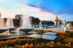 The replica of royal crematorium of His Majesty late King Bhumibol Adulyadej built for the royal funeral at King Rama I Park Stock Photos