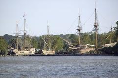 Replica's van Susan Constant, het schip van Godspeed en van de Ontdekking Stock Foto's