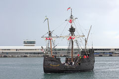 Replica of the Santa Maria of Columbus in the harbour of Funchal Stock Photo