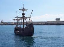 The replica santa maria sailing ship leaving funchal harbor for a cruise around madeira. Funchal, madeira, portugal - 17 march 2019: the replica santa maria stock image