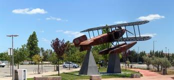 Replica seaplane monument. SAO BRAS DE ALPORTEL, PORTUGAL: 30th april, 2017 - First aerial crossing of the South Atlantic made by Gago Coutinho and Sacadura Stock Image