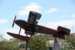 Replica seaplane monument. SAO BRAS DE ALPORTEL, PORTUGAL: 30th april, 2017 - First aerial crossing of the South Atlantic made by Gago Coutinho and Sacadura Royalty Free Stock Photography