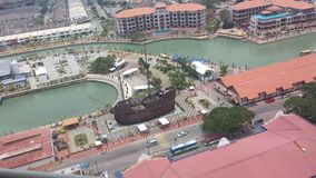 A replica ship. Photoshoot from the top of tower Royalty Free Stock Photo