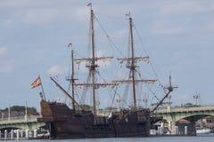 Replica of a Spanish Galeon. The replica Spanish Galeon El Galeon docked at Saint Augustine, Florida Stock Images