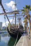 Replica of spanish warship Santisima Trinidad in alicante harbor Stock Photos