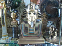 Replica of a statue of Egyptian pharaoh Stock Photos