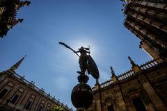 Replica of the statue El Giraldillo. Replica of the statue of El Giraldillo in front of the door of Prince. Seville Cathedral, Spain royalty free stock photos