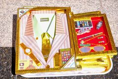 Replica of Suits and Shirts in the Form of Joss Paper Royalty Free Stock Photo