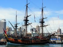 Replica Tall Ship. Replica of HMB Endeavour, Captain James Cook's 3 masted wooden sailing ship, Australian National Maritime Museum, Darling Harbour, Sydney royalty free stock photography