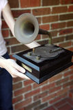 Replica tradizionale di gramaphone Fotografia Stock