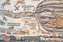 Replica van antieke kaart Madaba van Heilig Land Stock Fotografie