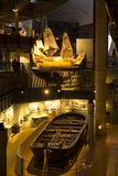 Replica of warship Vasa and her original lifeboat stock photo