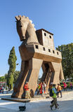 Replica of wooden Trojan horse in ancient city Troy. Turkey Royalty Free Stock Photo
