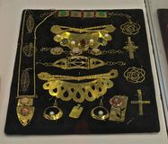 Replicas of antique jewelry displayed on exhibition expo.  Stock Photo