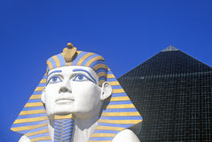 Replicas of Sphinx and Pyramid at the Luxor Hotel and Casino, Las Vegas, NV Stock Photo