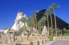 Replicas of Sphinx and Pyramid at the Luxor Hotel and Casino, Las Vegas, NV Stock Photos
