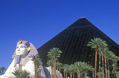 Replicas of Sphinx and Pyramid at the Luxor Hotel and Casino, Las Vegas, NV Royalty Free Stock Photos