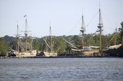 Replicas of The Susan Constant, Godspeed and Discovery ship Stock Photos