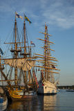 Replicas of Tall Ships in the Setting Sun Royalty Free Stock Photo