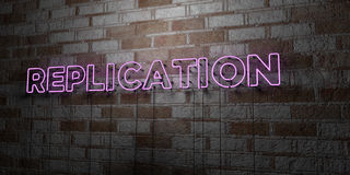 REPLICATION - Glowing Neon Sign on stonework wall - 3D rendered royalty free stock illustration Royalty Free Stock Image