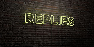 REPLIES -Realistic Neon Sign on Brick Wall background - 3D rendered royalty free stock image. Can be used for online banner ads and direct mailers stock illustration