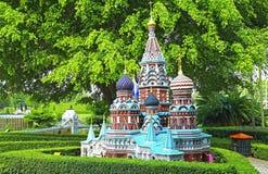 Replik der Kirche St.-Basilikums von Moskau an Shenzhen-Fenster der Welt Lizenzfreies Stockfoto