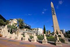 Replik des alten ägyptischen Obelisken und der Statuen, Luxor-Hotel und lizenzfreies stockbild