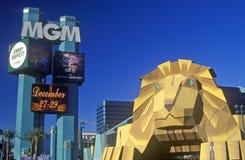 Replik des Löwes am Eingang des Mgm- Grandhotels, Las Vegas, Nanovolt stockbild