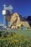 Replik des Löwes am Eingang des Mgm- Grandhotels, Las Vegas, Nanovolt stockfotografie