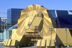 Replik des Löwes am Eingang des Mgm- Grandhotels, Las Vegas, Nanovolt stockfoto