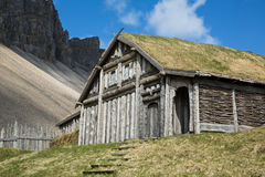 Replik Viking Long-House Side Stockbild