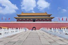 Replik von Verbotener Stadt mit Gehweg und Eingang, Hengdian, China stockfotos