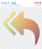 Reply all polygonal symbol. Awesome mosaic style symbol. charming low poly style. Modern design. reply all icon for infographics or presentation Stock Photography